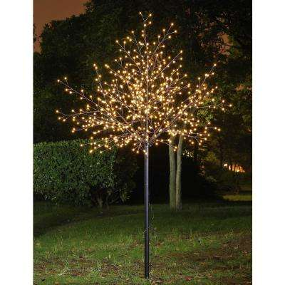 8.5 ft. 3-Watt Frosted Ball Tree with 600 Warm White LED Lights