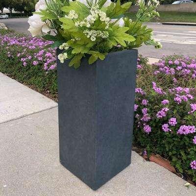 Small 8.7 in. x 8.7 in. x 19.9 in. Granite Lightweight Concrete Tall Planter