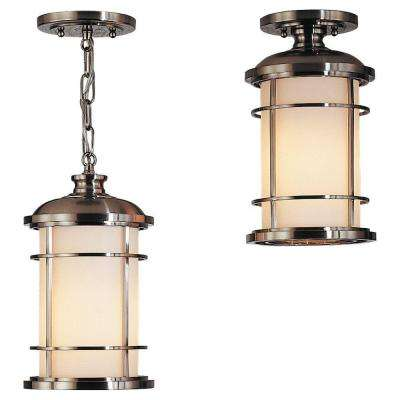 Lighthouse 1-Light Brushed Steel Outdoor Hanging Pendant