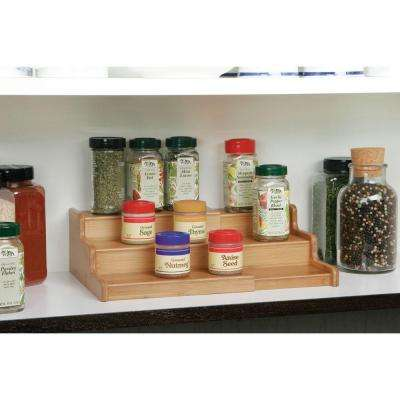 8-1/4 in. x 8-3/4 in. x 3-1/3 in. Expandable Bamboo Spice Rack Step Shelf Organizer with 3 Tiers