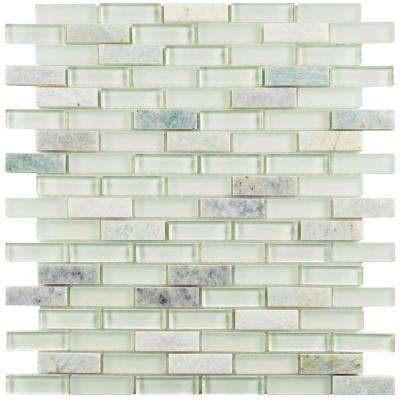Tessera Subway Ming 11-3/4 in. x 11-3/4 in. x 8 mm Glass and Stone Mosaic Tile