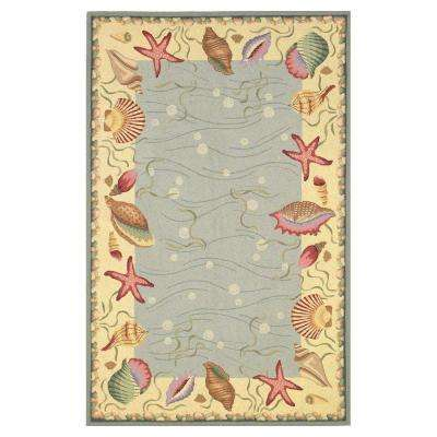 Seaside Border Blue/Ivory 2 ft. 6 in. x 4 ft. 2 in. Area Rug