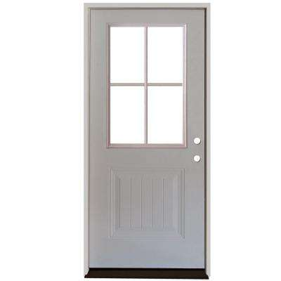 Premium 4 Lite Plank Panel Primed White Steel Prehung Front Door
