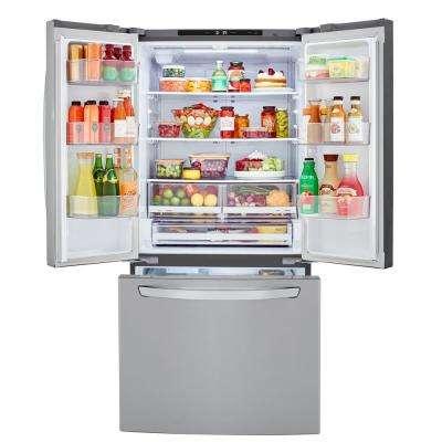 33 in. W 25 cu. ft. French Door Refrigerator in PrintProof Stainless Steel