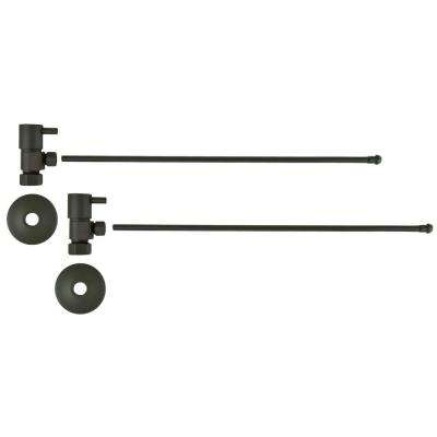 3/8 in. O.D x 20 in. Brass Rigid Lavatory Supply Lines with Lever Handle Shutoff Valves in Oil Rubbed Bronze