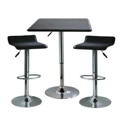 35 in. H Contemporary Style Adjustable Height Bar Table with 2-Backless Stools (3-Piece)