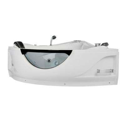 59 in. Acrylic Flatbottom Whirlpool Bathtub in White