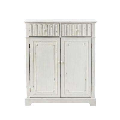 Manor 50 in. H Distressed White Shoe Cabinet