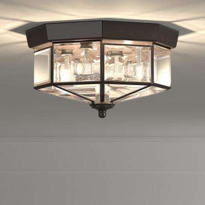 11.13 in. 4-Light Antique Bronze Flush Mount with Clear Beveled Glass