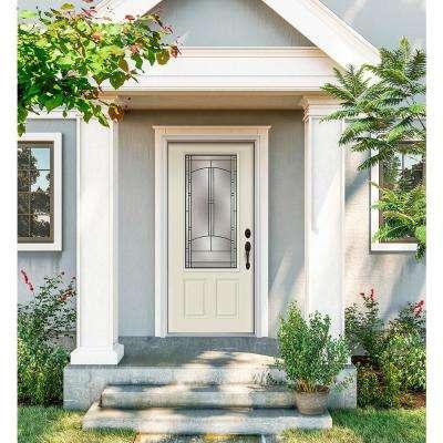 32 in. x 80 in. 3/4 Lite Idlewild Vanilla Painted Steel Prehung Left-Hand Inswing Front Door w/Brickmould