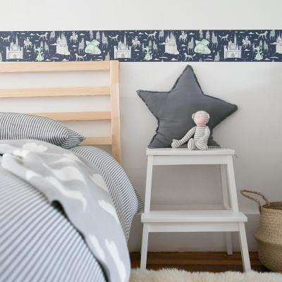 Kids Medieval Toile Navy and Green Self-Adhesive Removable Borders and Stripes