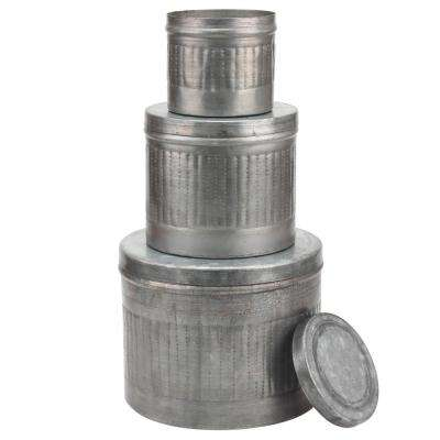 8 in. x 6.5 in. Aged Galvanized Metal Round Storage Boxes