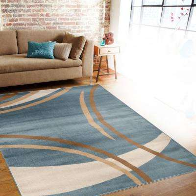 Contemporary Modern Wavy Circles Blue 3 ft. x 5 ft. Indoor Area Rug