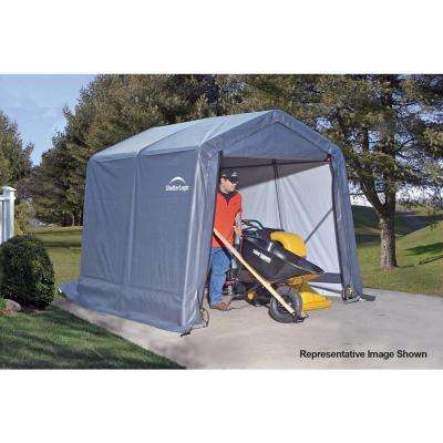 8 ft. W x 12 ft. D x 8 ft. H Grey Peak-Style Steel Frame Shed-in-a-Box Storage Shelter