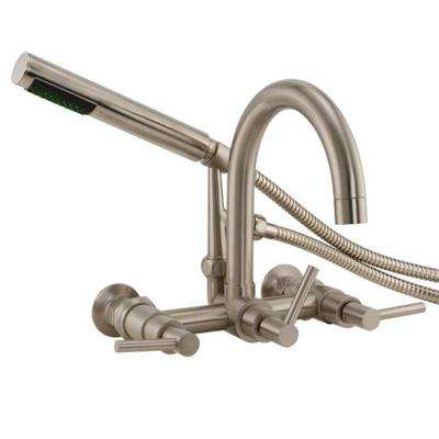 3-Handle Claw Foot Tub Faucet with Hand Shower in Brushed Nickel