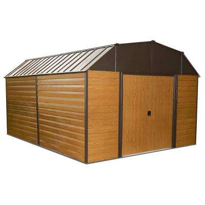 Woodhaven 10 ft. W x 14 ft. D 2-Tone Wood-grain Galvanized Metal Barn-Style Storage Building with Floor Frame Kit