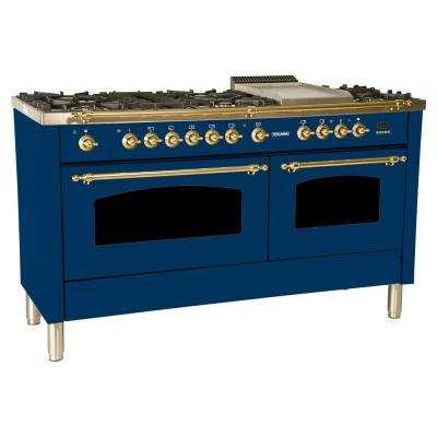60 in. 6 cu. ft. Double Oven Dual Fuel Italian Range True Convection, 8 Burners, Griddle, LP Gas, Brass Trim in Blue