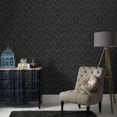 Vintage Flock Black Removable Wallpaper