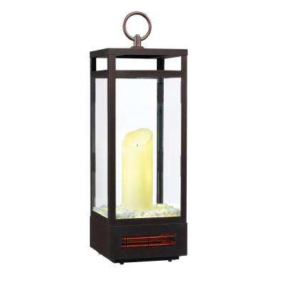1,500-Watt 29 in. Portable LED Electric Flameless Candle Lantern with Infrared Quartz Heater in Bronze