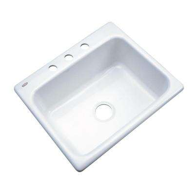 Inverness Drop-In Acrylic 25 in. 3-Hole Single Bowl Kitchen Sink in White