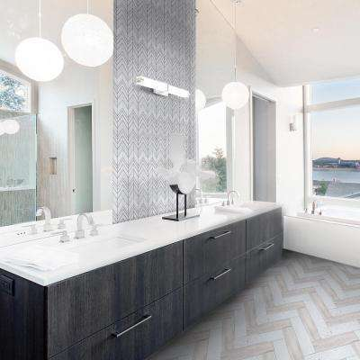 Mapleton White 7 in. x 12 in. x 10 mm Chevron Honed Marble Wall and Floor Mosaic Tile