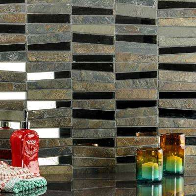Reflection Trapezoid Gray 11.73 in. x 14.29 in. x 9 mm Quartz and Mirror Mosaic Tile
