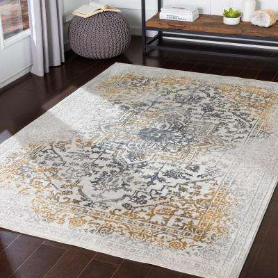 Marquis Yellow 5 ft. 3 in. x 7 ft. 3 in. Medallion Area Rug