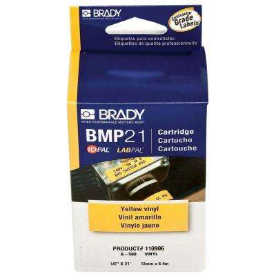 Brady Series Label Cartridge 0.375 in. x 21 ft. L B595 Indoor/Outdoor Vinyl, Black on White Labels