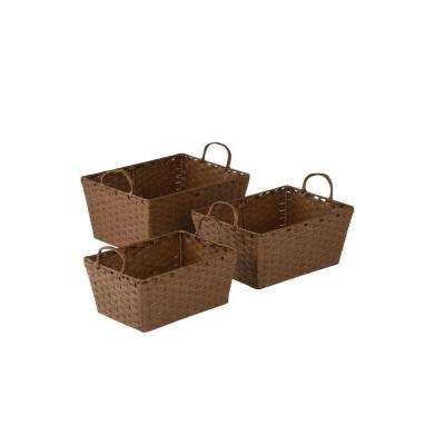 8.6 in. - 11 in. x 6 in. - 7 in. Brown Paper Rope Basket Set (3-Piece)