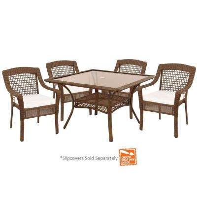 Spring Haven Brown 5-Piece Patio Dining Set with Cushion Insert (Slipcovers Sold Separately)