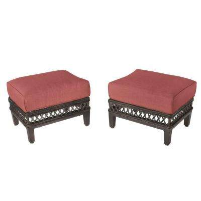 Woodbury Patio Ottoman with Chili Cushion (2-Pack)
