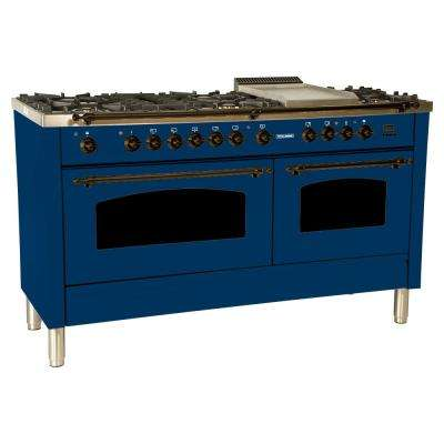 60 in. 6 cu. ft. Double Oven Dual Fuel Italian Range with True Convection, 8 Burners, Griddle, Bronze Trim in Blue
