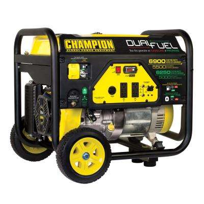 5,000-Watt Dual Fuel Powered RV Ready Portable Generator with Wheel Kit