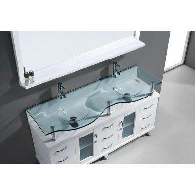 Vincente Rocco 60 in. W Bath Vanity in White with Glass Vanity Top in Aqua with Round Basin and Mirror and Faucet