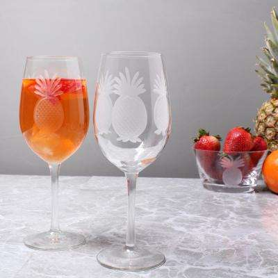 Pineapple 12 oz. Clear White Wine Glass (Set of 4)