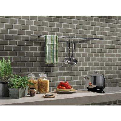 Charcoal Beveled 11.22 in. x 11.47 in. x 6 mm Ceramic Mesh-Mounted Mosaic Tile (13.95 sq. ft. / case)