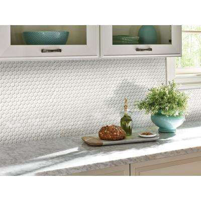 White Glossy Penny Round 12 in. x 12 in. x 6 mm Porcelain Mesh-Mounted Mosaic Tile (20 sq. ft. / case)