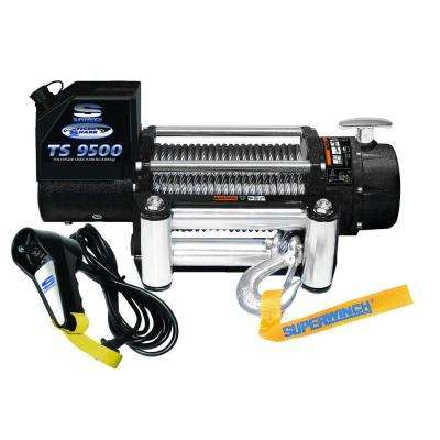 Tiger Shark 9500 12-Volt DC Off-Road Winch with Stainless Steel 4-Way Roller Fairlead and 12 ft. Remote