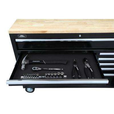 46 in. W x 18.1 in. D 9-Drawer Tool Chest Mobile Workbench with Solid Wood Top