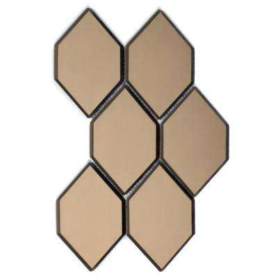 Reflections Gold Honeycomb Mosaic 4 in. x 5 in. Glass Mirror Mesh Mounted Decorative Wall Tile (0.5 Sq.Ft)