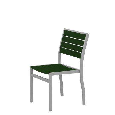 Euro Textured Silver Patio Dining Side Chair with Green Slats