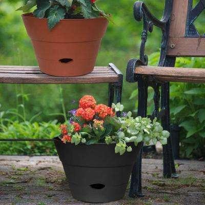13 in. Round Black Resin Self-Watering Hanging Basket