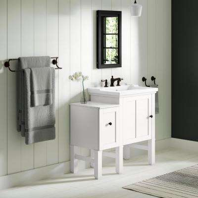 Chambly 36 in. W Vanity in Linen White with Ceramic Vanity Top in White with White Basin
