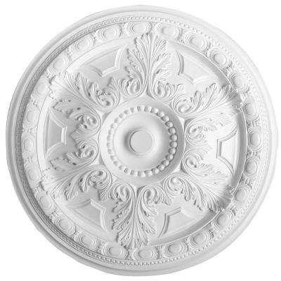 European Collection 28-1/8 in. x 1-9/16 in. Acanthus Coins and Round Beads Polyurethane Ceiling Medallion