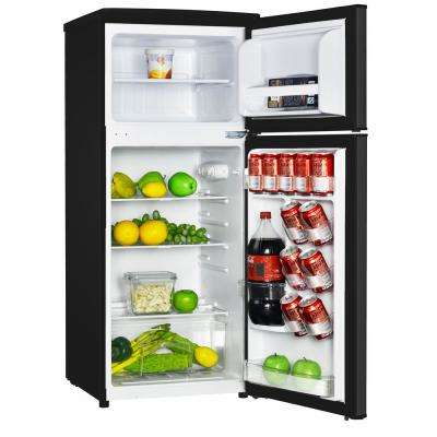 4.5 cu. ft. 2 Door Mini Fridge in Black with Freezer