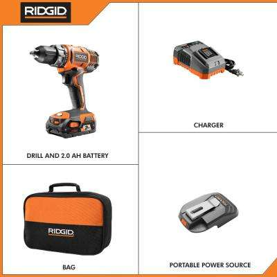 18-Volt Cordless 2-Speed 1/2 in. Compact Drill/Driver Kit and Portable Power Source