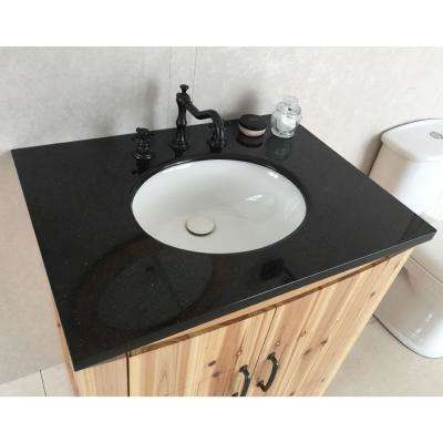 Vista 30 in. W x 22 in. D x 36 in. H Single Vanity in Natural with Granite Vanity Top in Black Galaxy with White Basin
