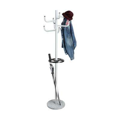 17 in. W x 70 in. H Silver Metal Coat Rack with Umbrella Holder