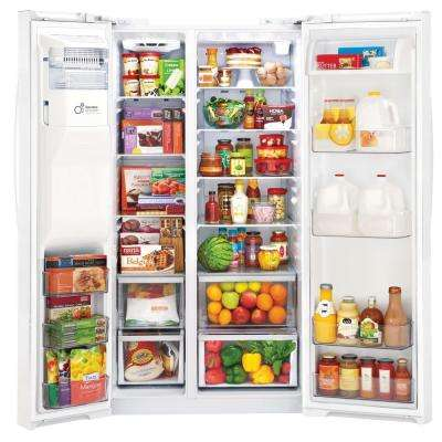 26.16 cu. ft. Side by Side Refrigerator in Smooth White