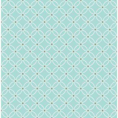 56 sq. ft. Kinetic Turquoise Geometric Floral Wallpaper